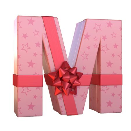 Gift box with red ribbon bow 3d font, present alphabet 3d rendering, letter M Stock Photo