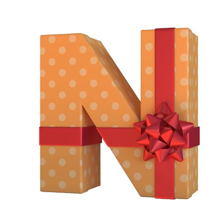Gift box with red ribbon bow 3d font, present alphabet 3d rendering, letter N