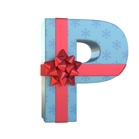 Gift box with red ribbon bow 3d font, present alphabet 3d rendering, letter P