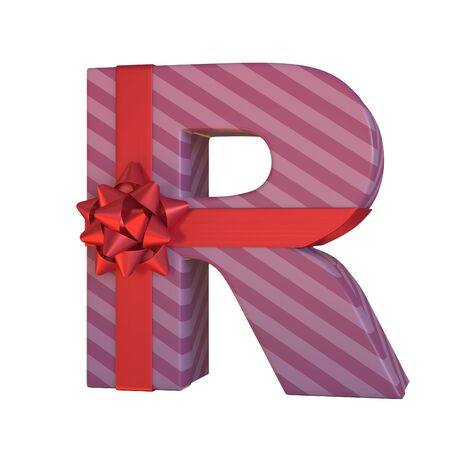 Gift box with red ribbon bow 3d font, present alphabet 3d rendering, letter R