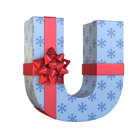 Gift box with red ribbon bow 3d font, present alphabet 3d renderinf, letter U