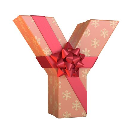 Gift box with red ribbon bow 3d font, present alphabet 3d renderinf, letter Y