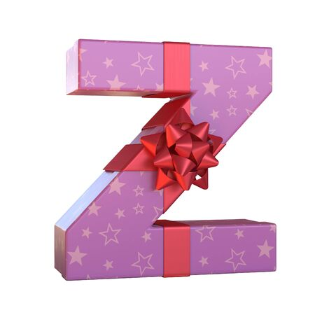 Gift box with red ribbon bow 3d font, present alphabet 3d renderinf, letter Z Stock Photo