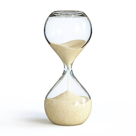 Reloj de arena sobre fondo blanco, renderizado 3d de reloj de arena Foto de archivo