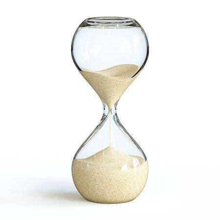 Sanduhr auf weißem Hintergrund, Sanduhr 3D-Rendering Standard-Bild