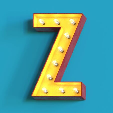 Light bulb glowing font, 3d alphabet character, 3d rendering, letter Z