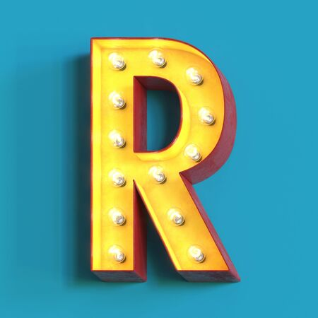 Light bulb glowing font, 3d alphabet character, 3d rendering, letter R
