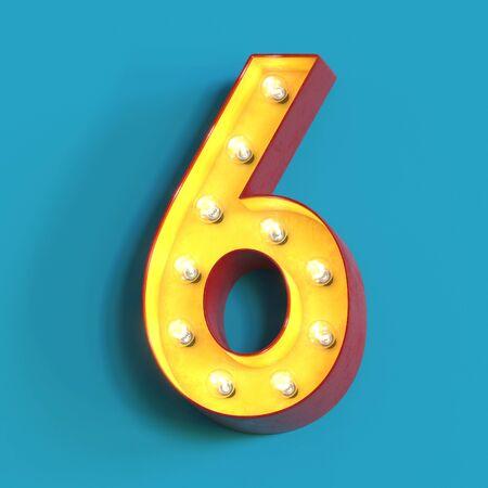 Light bulb glowing font, 3d alphabet character, 3d rendering, number 6 Imagens