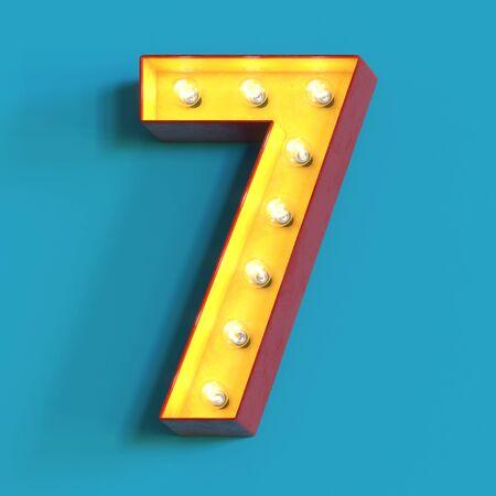 Light bulb glowing font, 3d alphabet character, 3d rendering, number 7