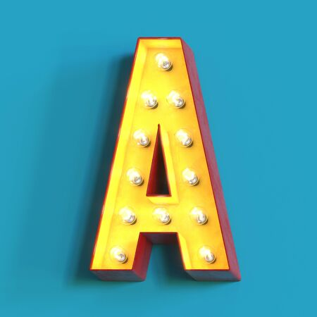 Light bulb glowing font, 3d alphabet character, 3d rendering, letter A