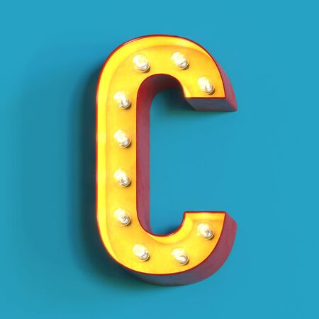 Light bulb glowing font, 3d alphabet character, 3d rendering, letter C