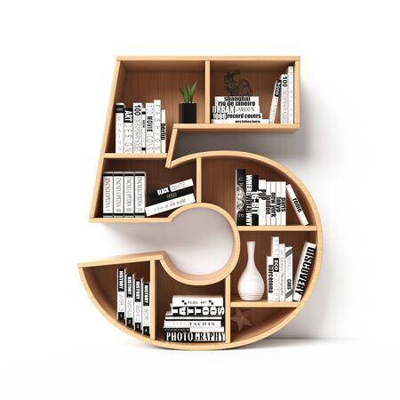Bookshelves 3d font. Alphabet in the form of book shelves. Mockup font. Number 5 3d rendering
