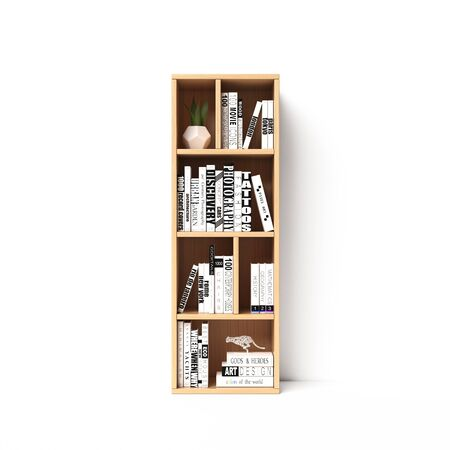 Bookshelves 3d font. Alphabet in the form of book shelves. Mockup font. Letter I 3d rendering Imagens