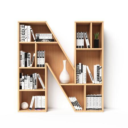 Bookshelves 3d font. Alphabet in the form of book shelves. Mockup font. Letter N 3d rendering Imagens