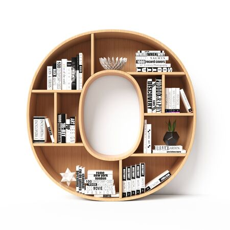 Bookshelves 3d font. Alphabet in the form of book shelves. Mockup font. Letter O 3d rendering