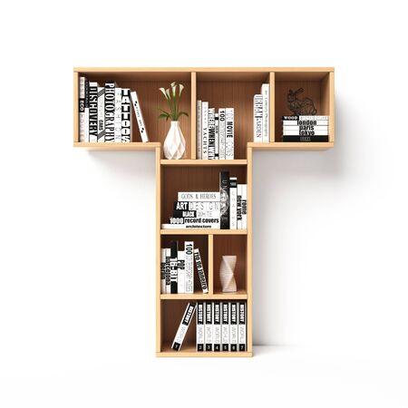 Bookshelves 3d font. Alphabet in the form of book shelves. Mockup font. Letter T 3d rendering