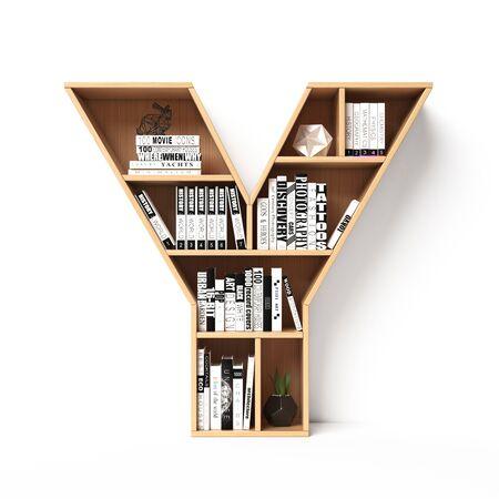 Półki na książki 3d czcionki. Alfabet w formie półek na książki. Czcionka makiety. Renderowanie 3d litery Y