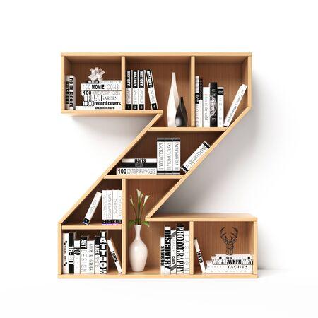 Bookshelves 3d font. Alphabet in the form of book shelves. Mockup font. Letter Z 3d rendering Imagens