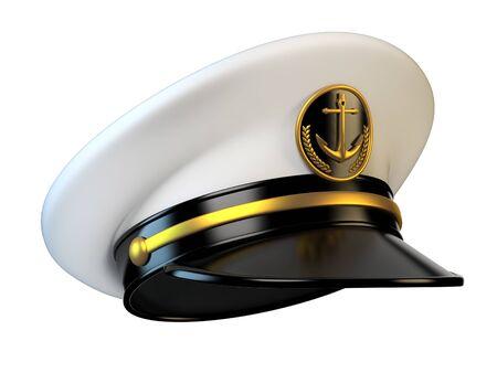 Marinemütze, Marinekapitän Hut 3D-Rendering Standard-Bild