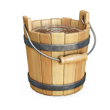 Wooden bucket with water isolated on white background 3d rendering Imagens