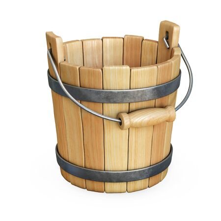 Wooden bucket isolated on white background 3d rendering Imagens
