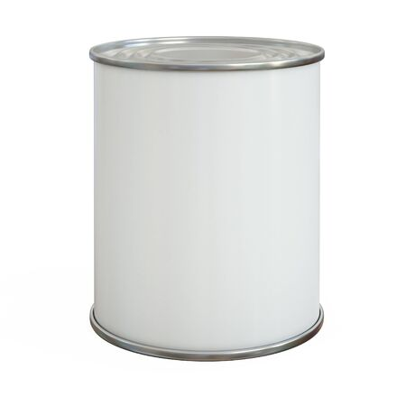 Tin can mock up, aluminum can, blank copy space can isolated on white background 3d rendering