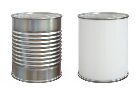 Tin can mock up, aluminum can and blank copy space can isolated on white background 3d rendering 版權商用圖片