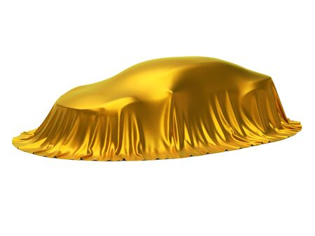 New car presentation, model reveal, hidden under golden cover, isolated on white background, 3d rendering