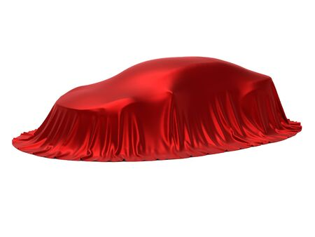 New car presentation, model reveal, hidden under red cover, isolated on white background, 3d rendering