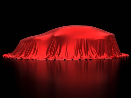 New car presentation, model reveal, hidden under red cover, isolated on black background, 3d rendering