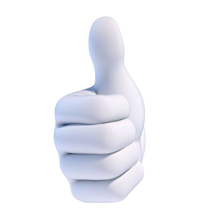 Thumb up white cartoon hand 3d rendering