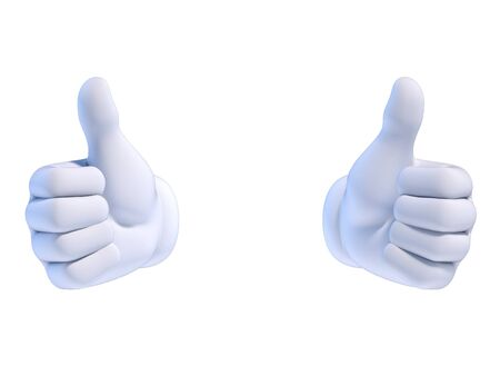 Thumbs up, two white cartoon hands 3d rendering