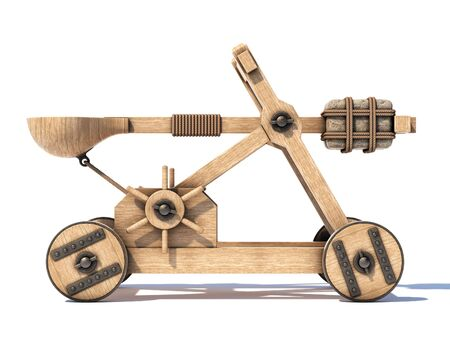 Catapult isolated on white background 3d rendering 写真素材