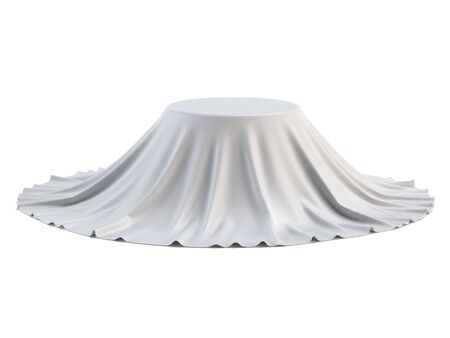 Round podium covered with white sheet isolated on white background, presentation pedestal 3d rendering