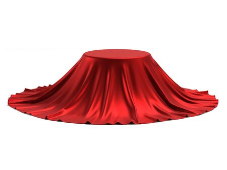 Round podium covered with red fabric on reflective white background, presentation pedestal 3d rendering