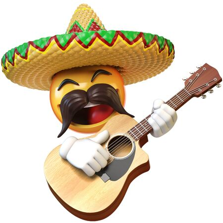Mexican emoji playing guitar isolated on white background, emoticon mariachi with sombrero and mustache 3d rendering Stock Photo