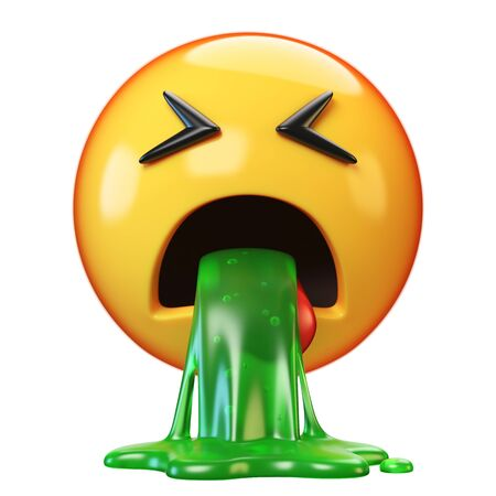 Puking emoji isolated on white background, disgusted or sick emoticon, vomiting emoji 3d rendering Stockfoto