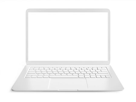 Blank white laptop with copy space isolated on white background 3d rendering