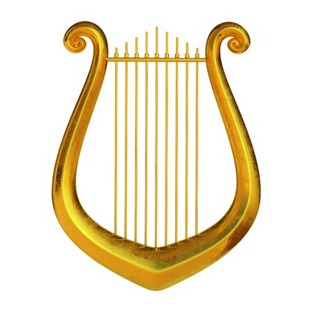 Golden lyre isolated on white background 3d rendering Archivio Fotografico - 132301213