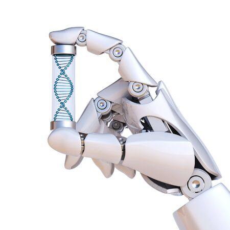 Robotic hand holding DNA sample, artificial intelligence concept, bionic brain 3d rendering