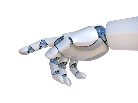Robot hand pointing index finger, touching gesture 3d rendering