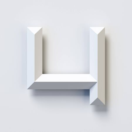 Number 4, square three dimensional font, white, simple, geometric, casting shadow on the background wall, 3d rendering