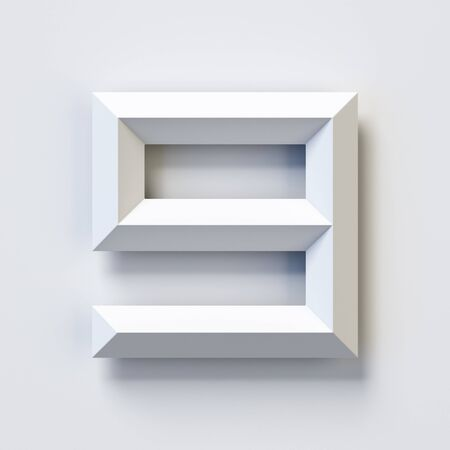 Number 9, square three dimensional font, white, simple, geometric, casting shadow on the background wall, 3d rendering 版權商用圖片