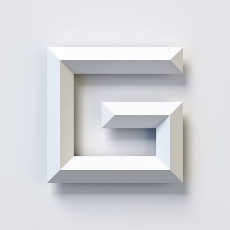 Letter G, square three dimensional font, white, simple, geometric, casting shadow on the background wall, 3d rendering