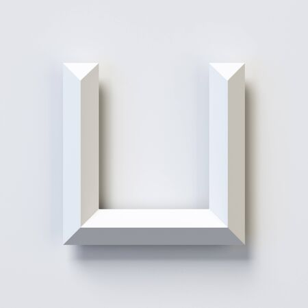 Letter U, square three dimensional font, white, simple, geometric, casting shadow on the background wall, 3d rendering