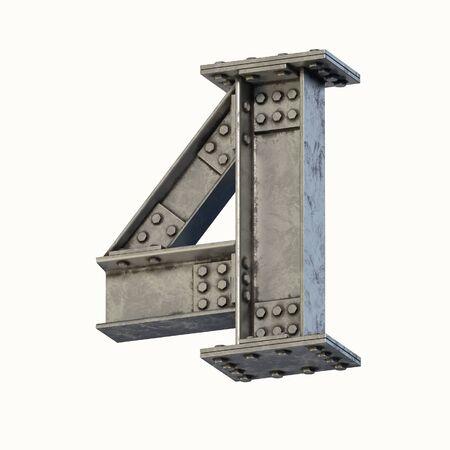 Steel beam font 3d rendering number 4 Banque d'images