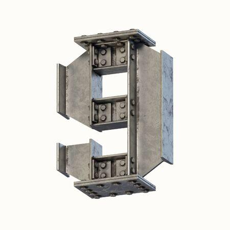 Steel beam font 3d rendering number 9 Banque d'images