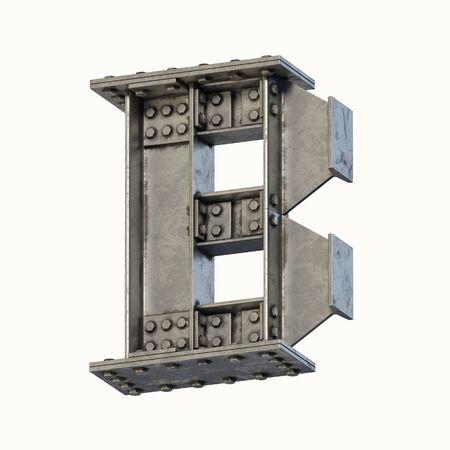 Steel beam font 3d rendering letter B