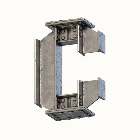Steel beam font 3d rendering letter C
