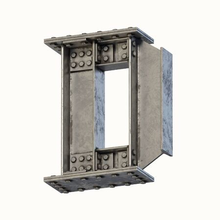 Steel beam font 3d rendering letter D